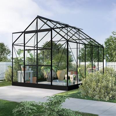 Växthus Neptunus - Svart 8 m² härdat glas