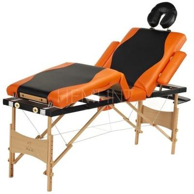 Massagebänk med träben - 4 zoner - Tvåfärgad