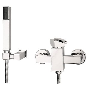Cubic Duschblandare med duschset - Krom thumbnail