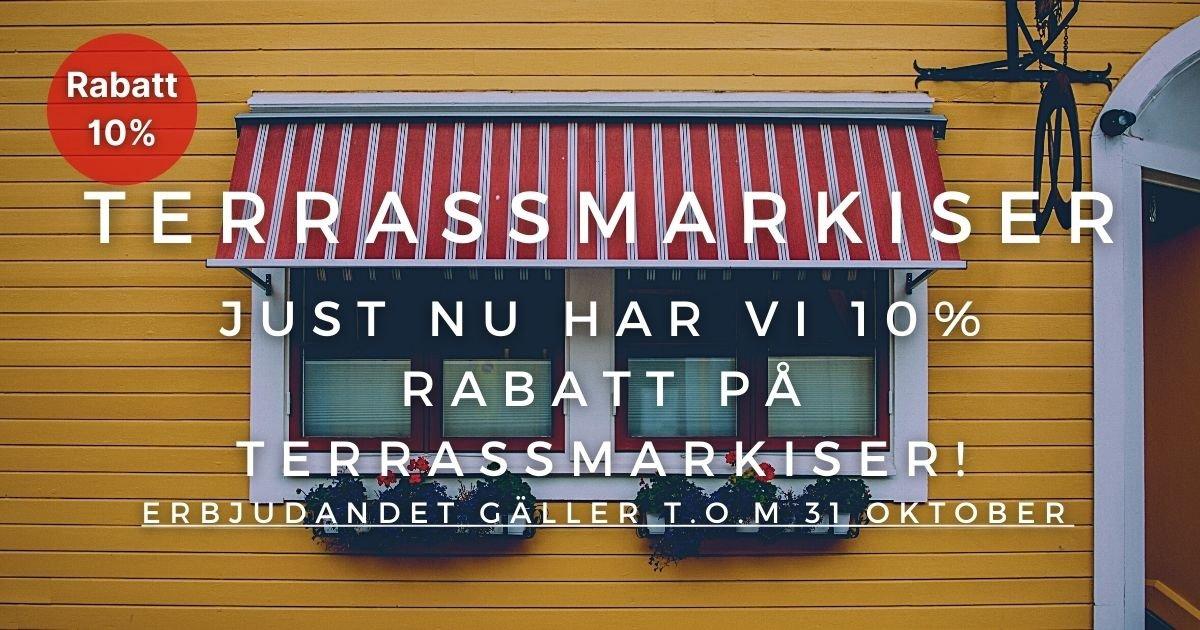 Oktoberkampanj - 10% rabatt på Terrassmarkiser