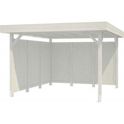 Modular Garden Paviljong 9,4m² med plank - Vitlackerat