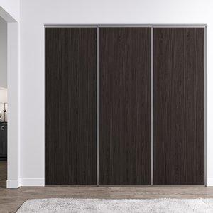 Venedig skjutdörr till garderob - 3 dörrar - Panel (flera färgval)