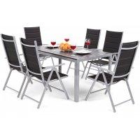 Utematgrupp Ibiza bord 150cm + 6 stolar - Silver/svart