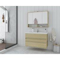 Möbelpaket Instinct 100 - Natural Oak med spegelskåp