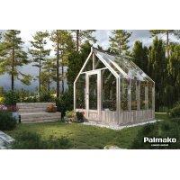 Växthus Emilia med fundament 5,4 m² – Gråbehandlat trä - Härdat glas