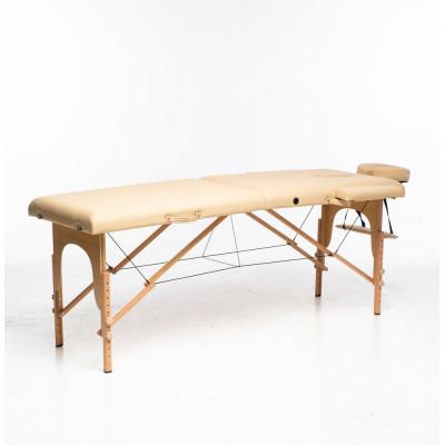 Massagebänk med träben - 2 zoner - Beige
