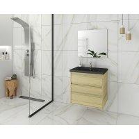 Möbelpaket Instinct 65 - Natural Oak/Svart med spegel
