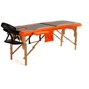 Massagebänk med träben - 2 zoner - Tvåfärgad