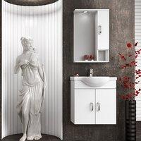 Möbelpaket Alba 65 vit med spegelskåp