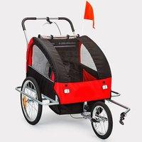Cykelvagn/joggingvagn med stötdämpare - Röd
