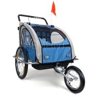 Cykelvagn/joggingvagn med stötdämpare - Blå