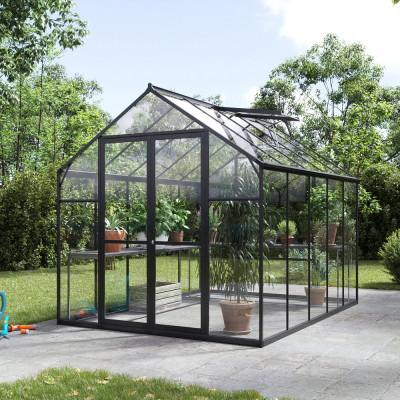 Växthus Titan med härdat glas - Svart 5,9 m²
