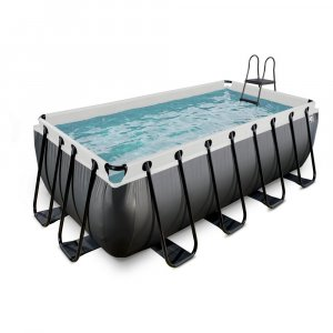 Pool 400x200x122cm med filterpump - Svart