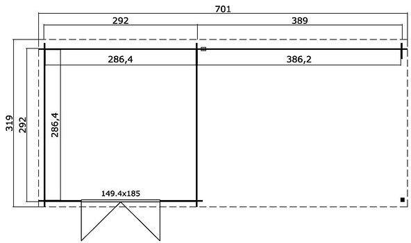 Förråd Sandy – 19,5 m² med cykelskjul