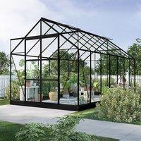 Växthus Neptunus - Svart 11,2 m² härdat glas