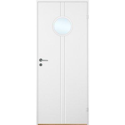Innerdörr Bornholm - Kompakt dörrblad, spårfräst dekor & runt glasparti A17