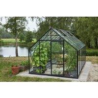 Växthus Universal - Svart med härdat glas 9,9 m²