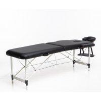 Massagebänk med metallben - 2 zoner - Svart