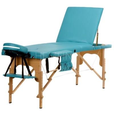 Massagebänk med träben - 3 zoner - Enfärgad
