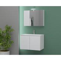 Möbelpaket Verona 75 - Vitt med spegelskåp