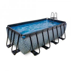 Pool 400x200x122cm med sandfilterpump - Grå