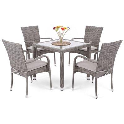 Matgrupp Mori 80 cm - grå, inkl. 4 stolar