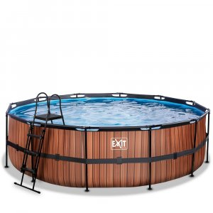 Pool ø488x122cm med filterpump - Brun