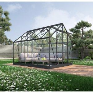 Växthus Neptunus - Svart 8 m² härdat glas & 11495.00