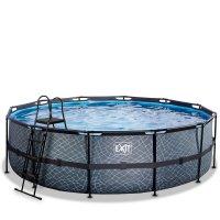 Pool ø488x122cm med filterpump - Grå