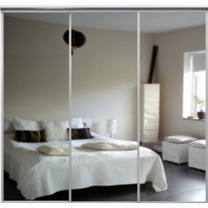 Venedig skjutdörr till garderob - 3 dörrar - Spegel