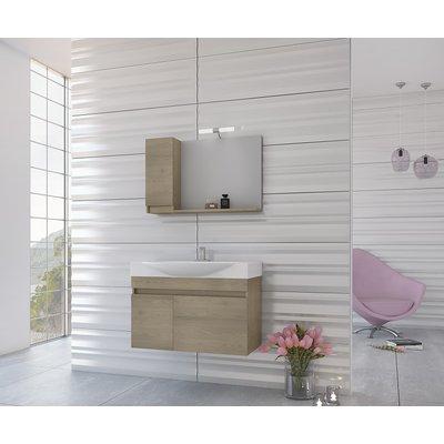Möbelpaket Senso 85 - Träfärgat med spegelskåp