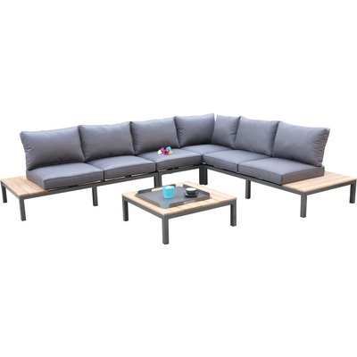 Utemöbelgrupp Gissebo loungesoffa - Aluminium/Trä