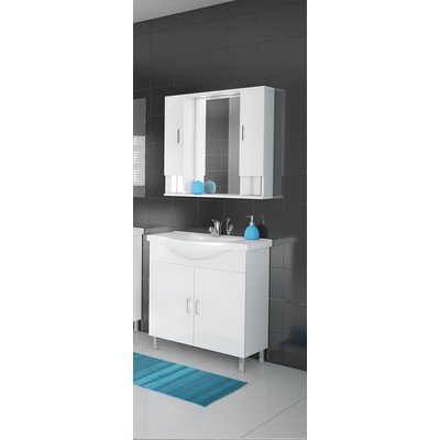 Möbelpaket Alba 80 vit med spegelskåp (2 skåp)