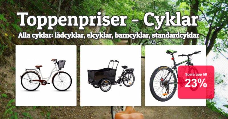 Cyklar upp till xx%
